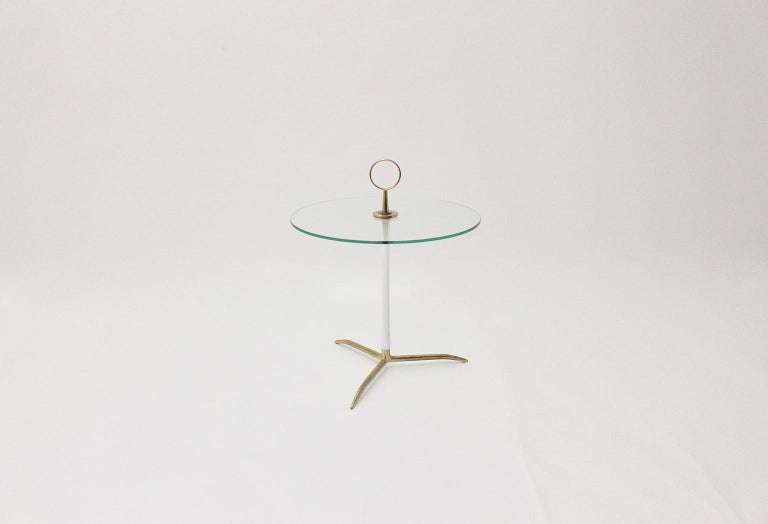 Italian Mid-Century Modern Vintage Round Glass Brass Side Table 1950s Italy For Sale