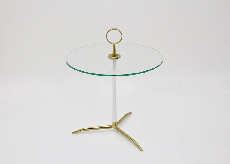 Mid-Century Modern Vintage Round Glass Brass Side Table 1950s Italy In Good Condition For Sale In Vienna, AT