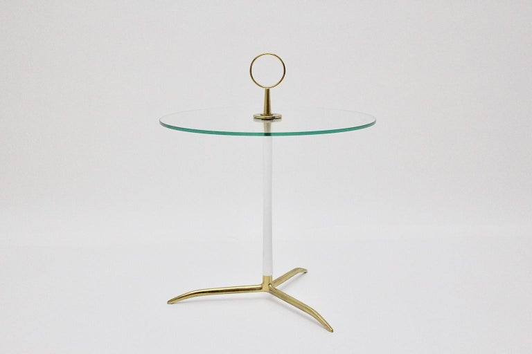 Metal Mid-Century Modern Vintage Round Glass Brass Side Table 1950s Italy For Sale