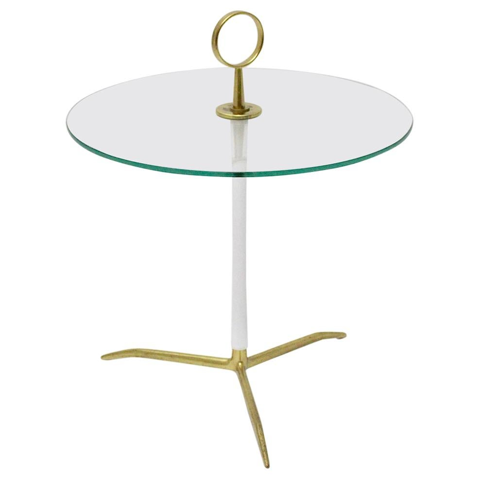 Mid-Century Modern Vintage Round Glass Brass Side Table 1950s Italy