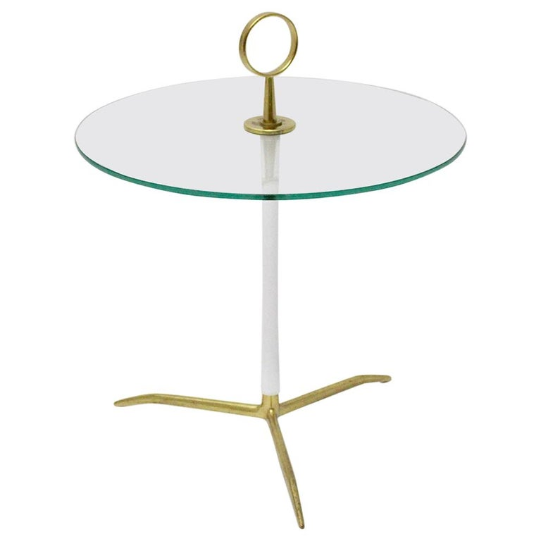Mid-Century Modern Vintage Round Glass Brass Side Table 1950s Italy For Sale