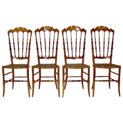 Mid-Century Modern Vintage Set of Four Beech Chiavari Dining Chairs, 1950s