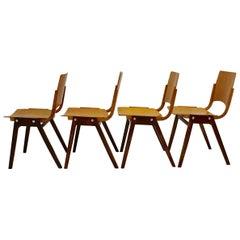 Mid-Century Modern Vintage Set of Four Dining Chair Roland Rainer, 1952, Austria