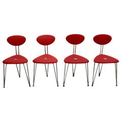 Mid-Century Modern Vintage Set of Four Red Chairs by Günter Talos Austria