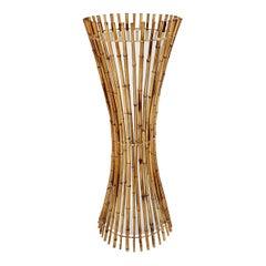 Mid-Century Modern Vintage Sheaf of Bamboo Rattan Organic Floor Lamp 1970s Italy