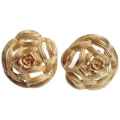Mid-Century Modern Vintage Signed Christian Dior Clip-On Earrings