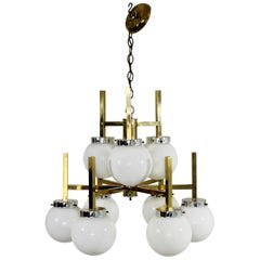 Mid-Century Modern Vintage Sonneman 9 Bulb Brass Chandelier Light Fixture, 1960s