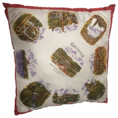 Mid-Century Modern Vintage Souvenir Silk Scarf Throw Pillow from 1970s