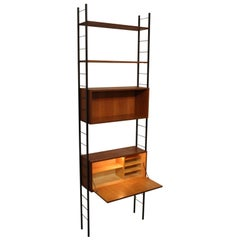 Mid-Century Modern Vintage Teak Ladder String Shelf with Elements, circa 1960