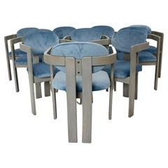Mid-Century Modern Vintage Ten Beech Velvet Grey Blue Dining Chairs, 1970s Italy