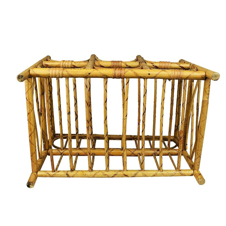 Southeast Asian Mid-Century Modern Vintage Tortoise Bamboo and Wicker 6 Bottle Wine Rack For Sale