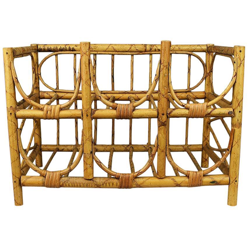 Mid-Century Modern Vintage Tortoise Bamboo and Wicker 6 Bottle Wine Rack