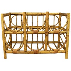 Mid-Century Modern Vintage Tortoise Bamboo and Wicker 6 Bottle Wine Rack