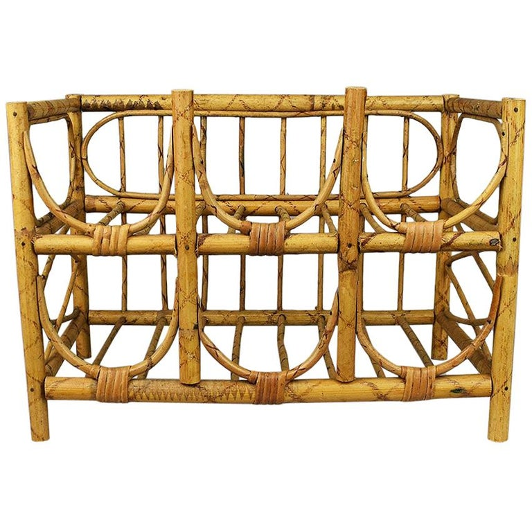 Mid-Century Modern Vintage Tortoise Bamboo and Wicker 6 Bottle Wine Rack For Sale