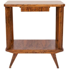 Mid-Century Modern Vintage TV Side Table, Beechwood, Poland, 1960s