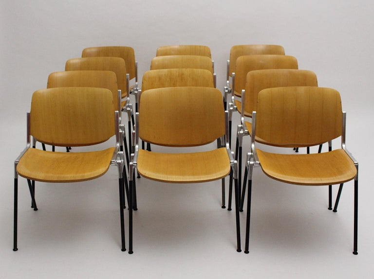 Mid-Century Modern Vintage Twelve Aluminum Beech Dining Chairs Giancarlo Piretti For Sale 2