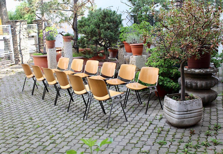 Mid-Century Modern Vintage Twelve Aluminum Beech Dining Chairs Giancarlo Piretti For Sale 3