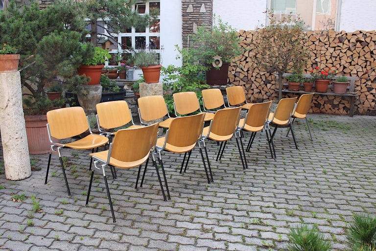 Mid-Century Modern Vintage Twelve Aluminum Beech Dining Chairs Giancarlo Piretti For Sale 4