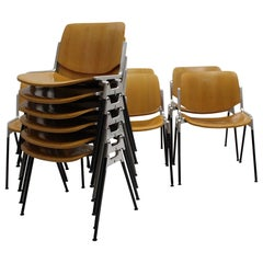 Italian Space Age Vintage Twelve Aluminum Beech Dining Chairs Giancarlo Piretti