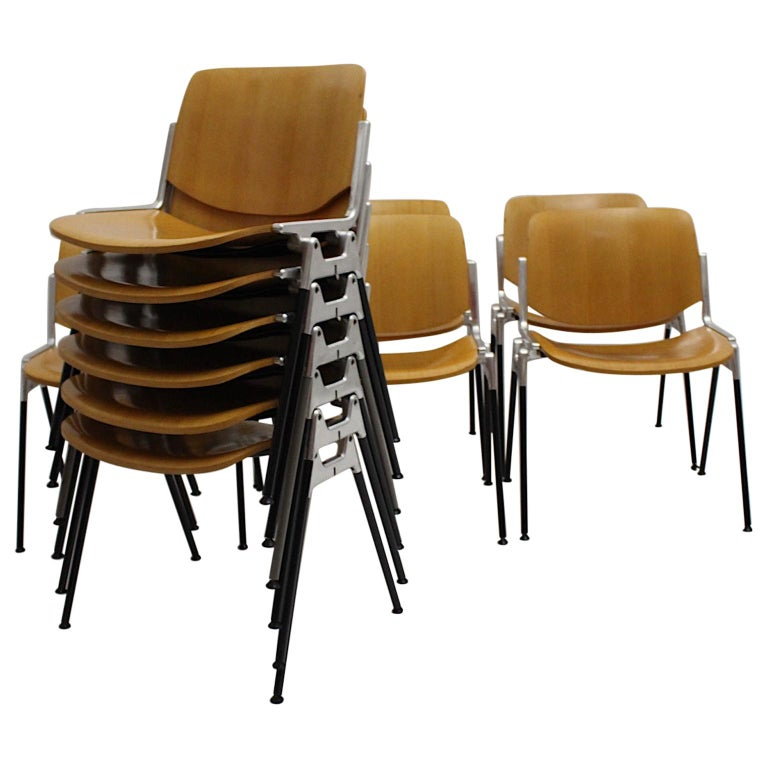 Mid-Century Modern Vintage Twelve Aluminum Beech Dining Chairs Giancarlo Piretti For Sale
