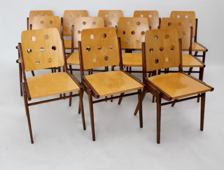 Mid-Century Modern Vintage Twelve Brown Dining Chairs Franz Schuster, 1950s For Sale 4