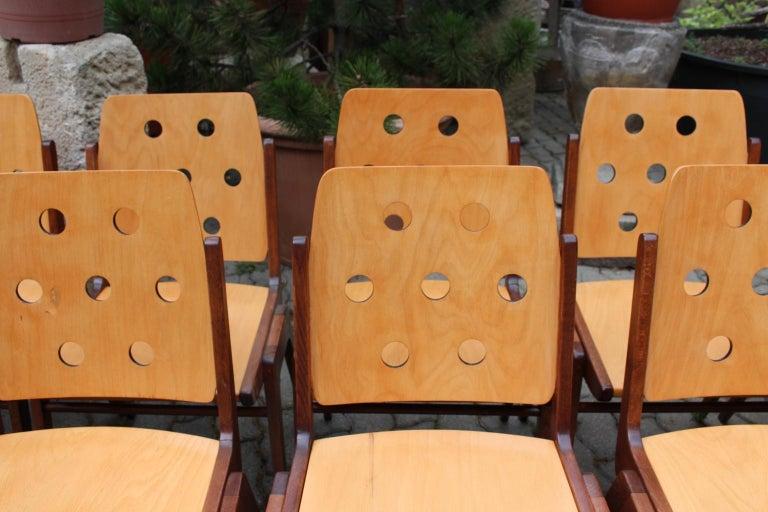 Mid-Century Modern Vintage Twelve Brown Dining Chairs Franz Schuster, 1950s For Sale 8