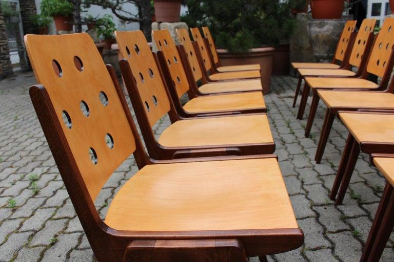 Mid-Century Modern Vintage Twelve Brown Dining Chairs Franz Schuster, 1950s For Sale 9