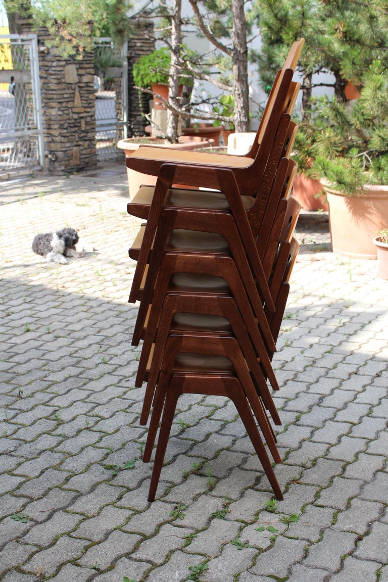 Mid-Century Modern Vintage Twelve Brown Dining Chairs Franz Schuster, 1950s For Sale 10