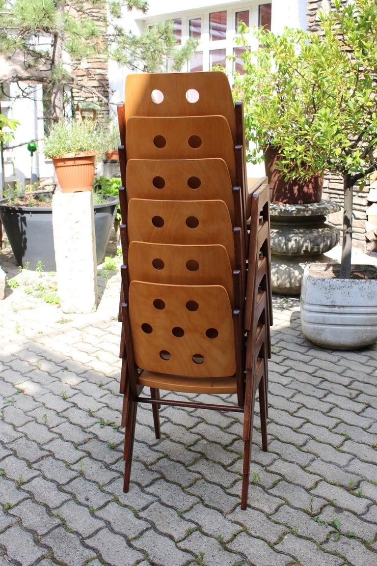 Mid-Century Modern Vintage Twelve Brown Dining Chairs Franz Schuster, 1950s For Sale 14