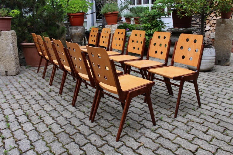 Mid-Century Modern Vintage Twelve Brown Dining Chairs Franz Schuster, 1950s In Good Condition For Sale In Vienna, AT