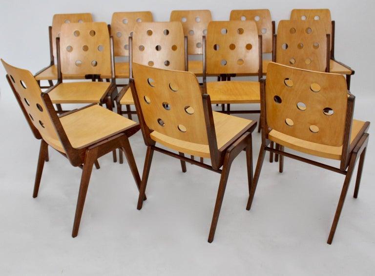 Beech Mid-Century Modern Vintage Twelve Brown Dining Chairs Franz Schuster, 1950s For Sale