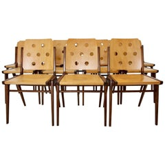 Mid-Century Modern Vintage Twelve Brown Dining Chairs Franz Schuster, 1950s