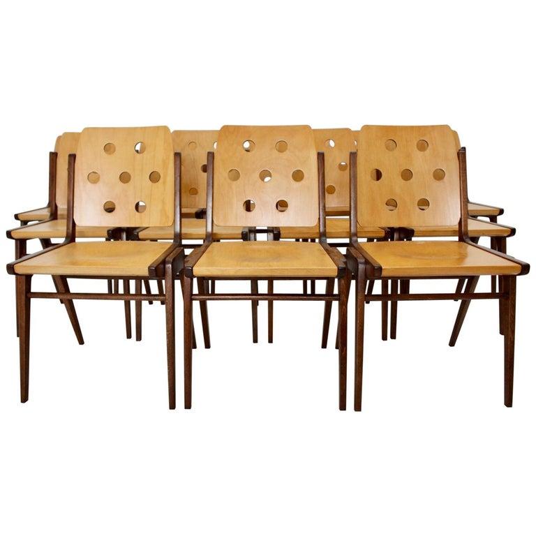 Mid-Century Modern Vintage Twelve Brown Dining Chairs Franz Schuster, 1950s For Sale
