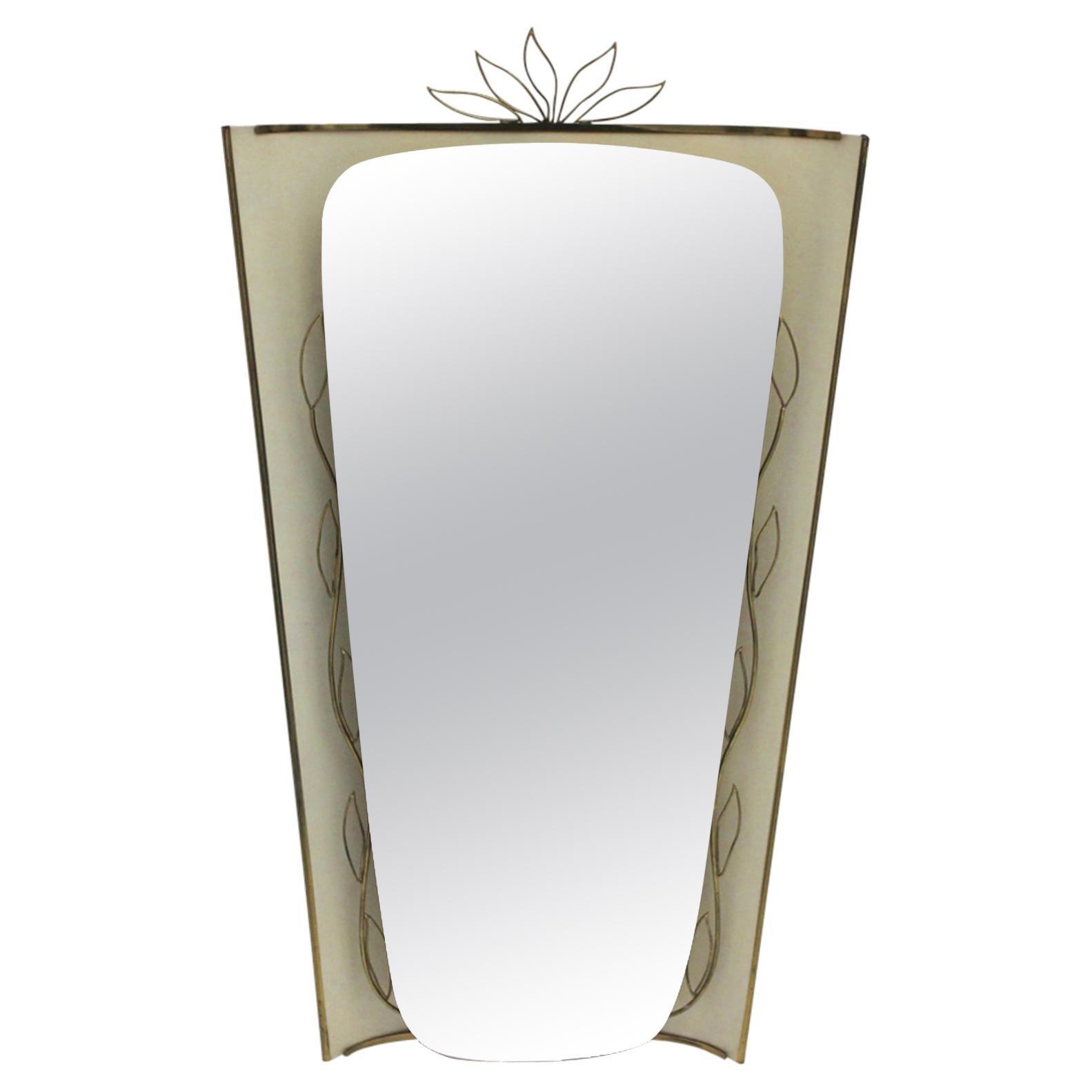 Mid-Century Modern Vintage Wall Mirror Floor Mirror Style Gio Ponti, 1950, Italy