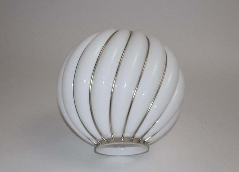 Mid-Century Modern Vintage White Glass Nickel Pendant Hanging Lamp Italy 1960s For Sale 4