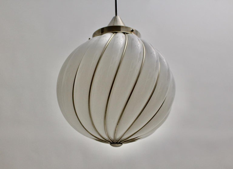 Mid-Century Modern Vintage White Glass Nickel Pendant Hanging Lamp Italy 1960s For Sale 5