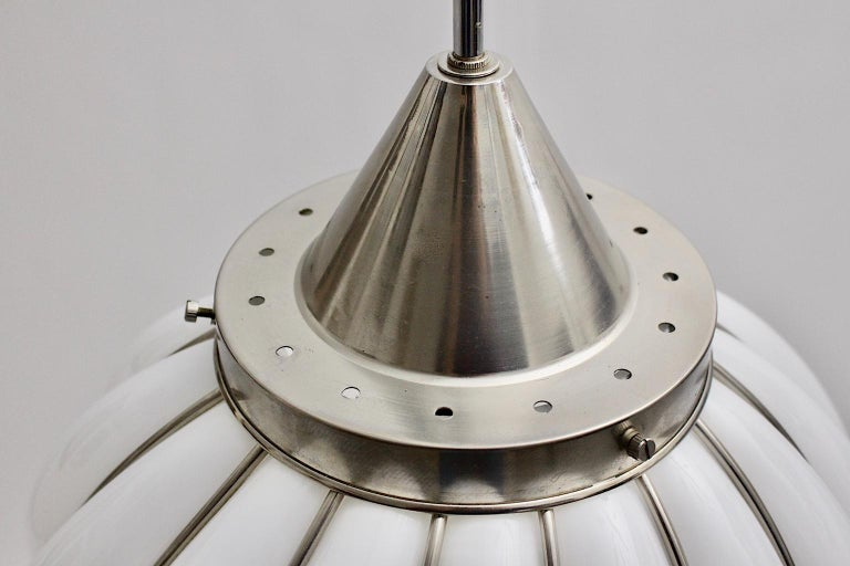 Mid-Century Modern Vintage White Glass Nickel Pendant Hanging Lamp Italy 1960s For Sale 8