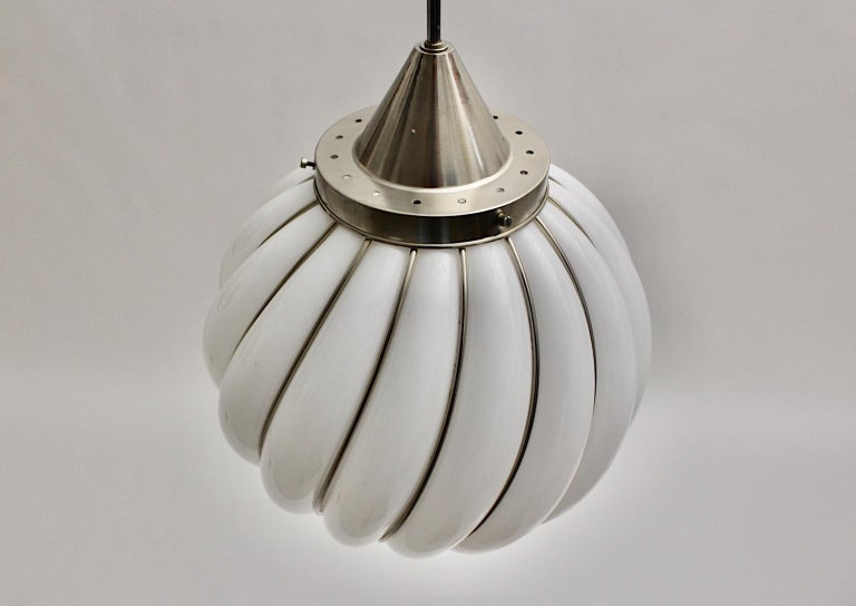 Mid-Century Modern Vintage White Glass Nickel Pendant Hanging Lamp Italy 1960s For Sale 9