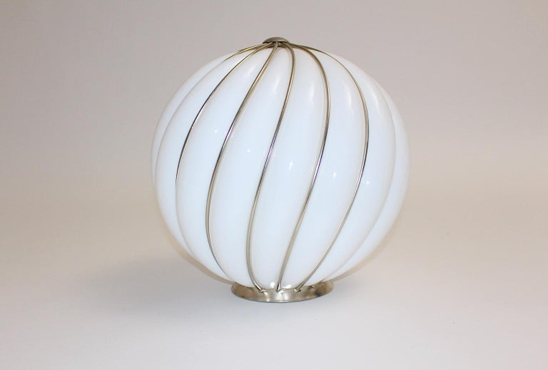 Mid-Century Modern Vintage White Glass Nickel Pendant Hanging Lamp Italy 1960s For Sale 10