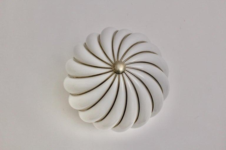 Italian Mid-Century Modern Vintage White Glass Nickel Pendant Hanging Lamp Italy 1960s For Sale