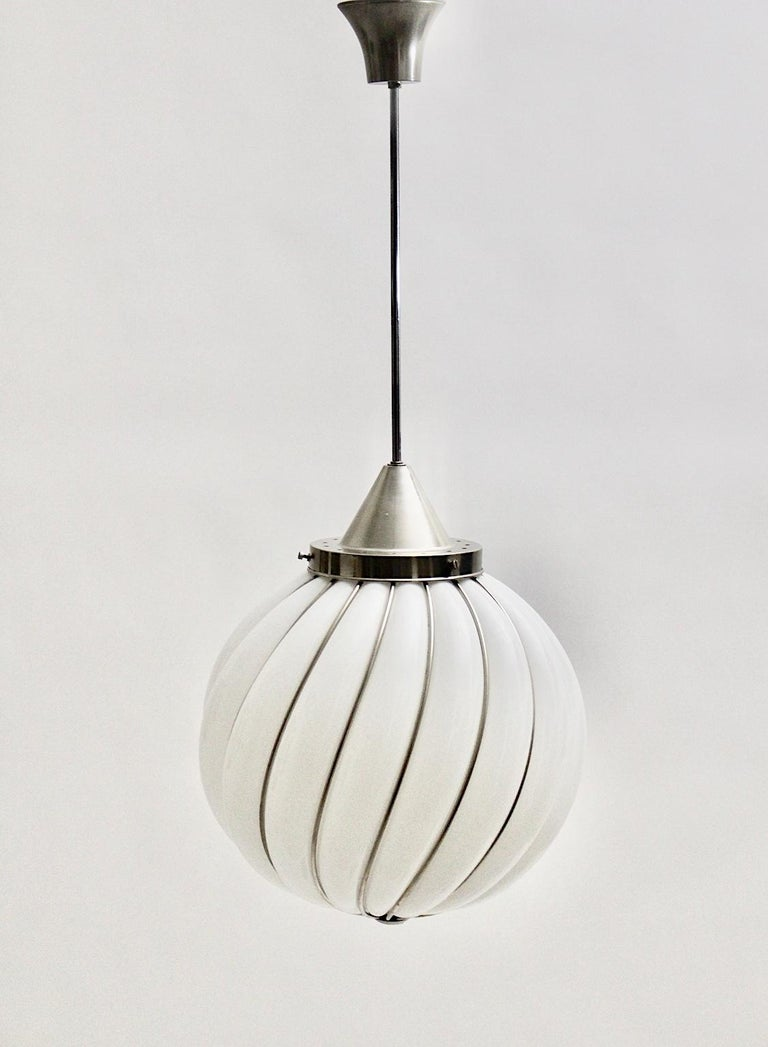 Mid-Century Modern Vintage White Glass Nickel Pendant Hanging Lamp Italy 1960s In Good Condition For Sale In Vienna, AT