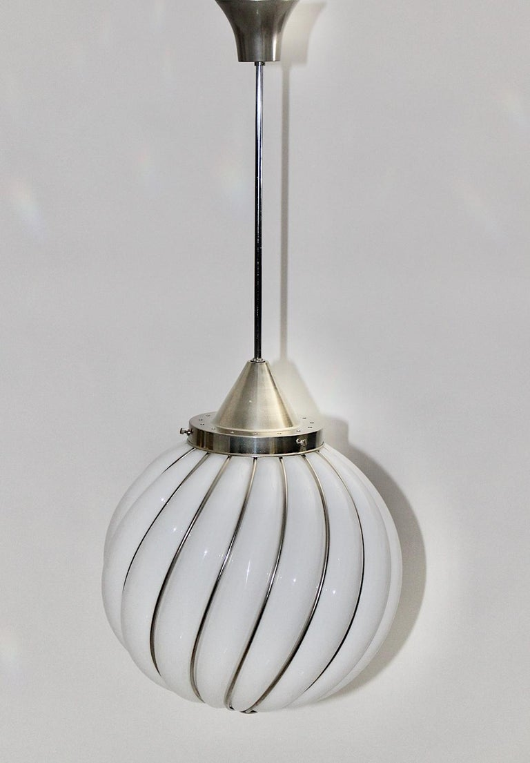 Mid-20th Century Mid-Century Modern Vintage White Glass Nickel Pendant Hanging Lamp Italy 1960s For Sale