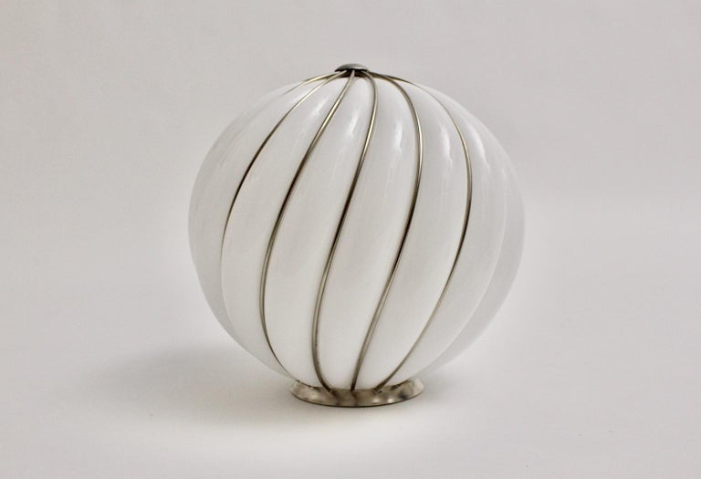Blown Glass Mid-Century Modern Vintage White Glass Nickel Pendant Hanging Lamp Italy 1960s For Sale