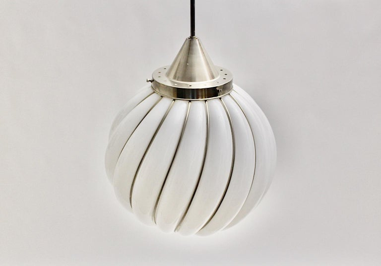 Mid-Century Modern Vintage White Glass Nickel Pendant Hanging Lamp Italy 1960s For Sale 1