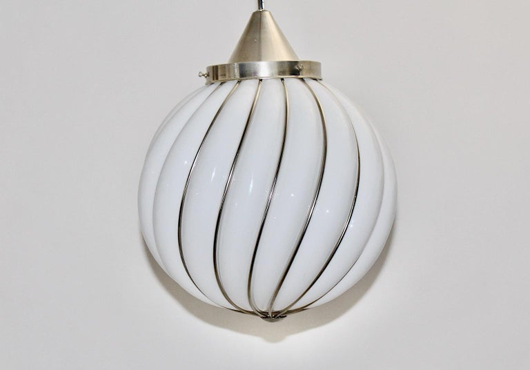 Mid-Century Modern Vintage White Glass Nickel Pendant Hanging Lamp Italy 1960s For Sale 2