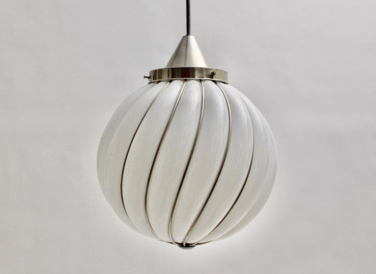 Mid-Century Modern Vintage White Glass Nickel Pendant Hanging Lamp Italy 1960s For Sale 3
