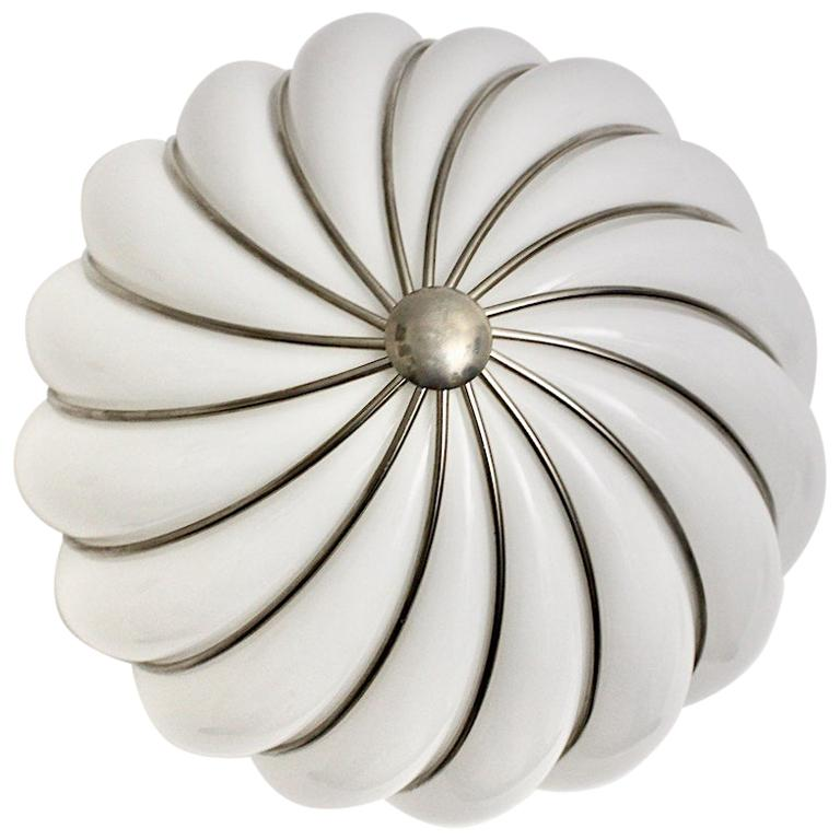 Mid-Century Modern Vintage White Glass Nickel Pendant Hanging Lamp Italy 1960s For Sale