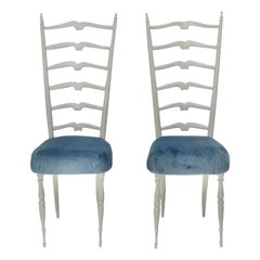 Mid-Century Modern Vintage White High Back Chairs Style Gio Ponti, 1950s, Italy