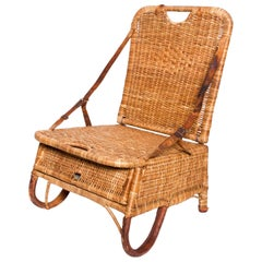 Vintage Folding Beach Chair Woven Wicker and Leather Sculpted Portable Travel