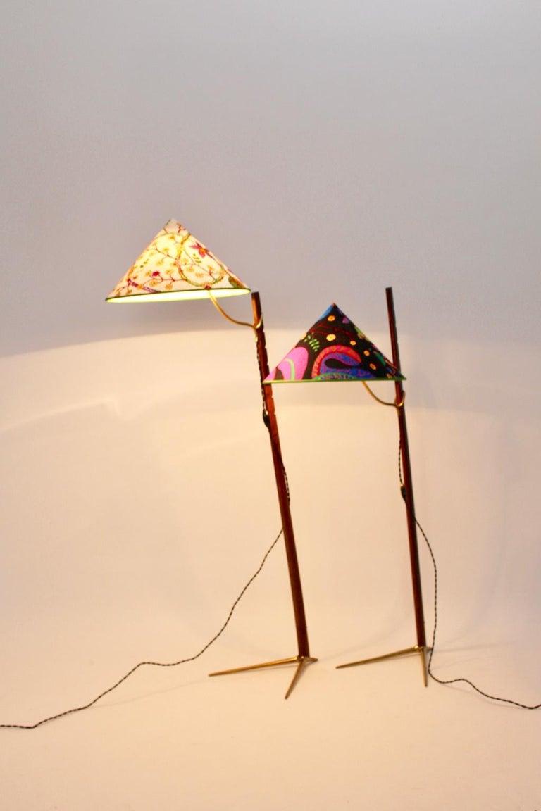 Mid-Century Modern Vintage Wood Brass Floor Lamps by Rupert Nikoll, 1950s Vienna For Sale 6